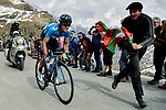 Mikel Landa Meana (ESP) Movistar Team goes under the 1km to go banner to the finish of Stage 13 of the 2019 Giro d'Italia, running 196km from Pinerolo to Ceresole Reale (Lago Serrù), Italy. 24th May 2019<br /> Picture: Marco Alpozzi/LaPresse | Cyclefile<br /> <br /> All photos usage must carry mandatory copyright credit (© Cyclefile | Marco Alpozzi/LaPresse)