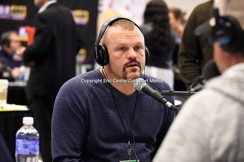Friday, February 5, 2016: Retired MMA fighter Chuck Liddell does a morning radio program at the Moscone Center in San Francisco, California during the National Football League week long opening celebrations for Super Bowl 50 between the Carolina Panthers and the Denver Broncos. Eric Canha/CSM