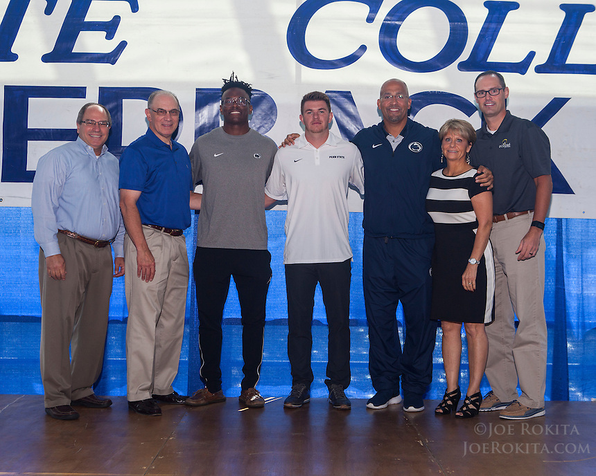 State College, PA - 09/21/2016:  Week #4 State College Quarterback Club luncheon at Mount Nittany Club at Beaver Stadium in University Park, PA.<br /> <br /> This week's opponent: Michigan<br /> <br /> Players: DaeSean Hamilton, Tyler Davis<br /> <br /> Coach: James Franklin<br /> <br /> Sponsor: Eclipse Resources<br /> <br /> Photos by Joe Rokita / JoeRokita.com