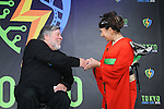 """Apple co-founder Steve Wozniak and Japanese actress Mika Mifune attend a press conference to unveil the """"Tokyo Comic Con 2016"""" in Tokyo, Japan, on December 4, 2015. The inaugural Tokyo Comic Con will take place at the Mukahari Messe Convention Center from December 3-4, 2016. (Photo by AFLO)"""