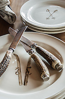 Three horn-handled knives rest on a stack of plates, appropriately decorated with the image of a pair of skis