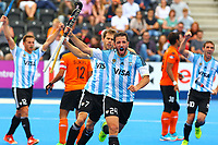 Manuel Brunet celebrates scoring for Argentina during the Hockey World League Semi-Final match between Argentina and Malaysia at the Olympic Park, London, England on 24 June 2017. Photo by Steve McCarthy.