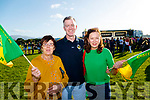 Joanne Barrett and Tom Quilter (Tralee) with Ber Byrne (Rathmore), pictured at the Kerry Minor home coming at Kilcummin GAA pitch on Monday night last.
