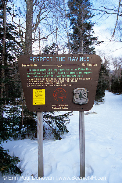 Respect the Ravines sign on Tuckerman Ravine Trail. Located in the White Mountain National Forest of New Hampshire USA.