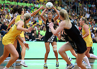 13.10.2013 Silver Fern Maria Tutaia in action during the Silver Ferns V Australian Diamonds Netball Series played at the AIS Arena in Canberra Australia. Mandatory Photo Credit ©Michael Bradley.