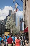 Tourists follow a tour guide on the Tastebud Tours food tour of Chicago, IL