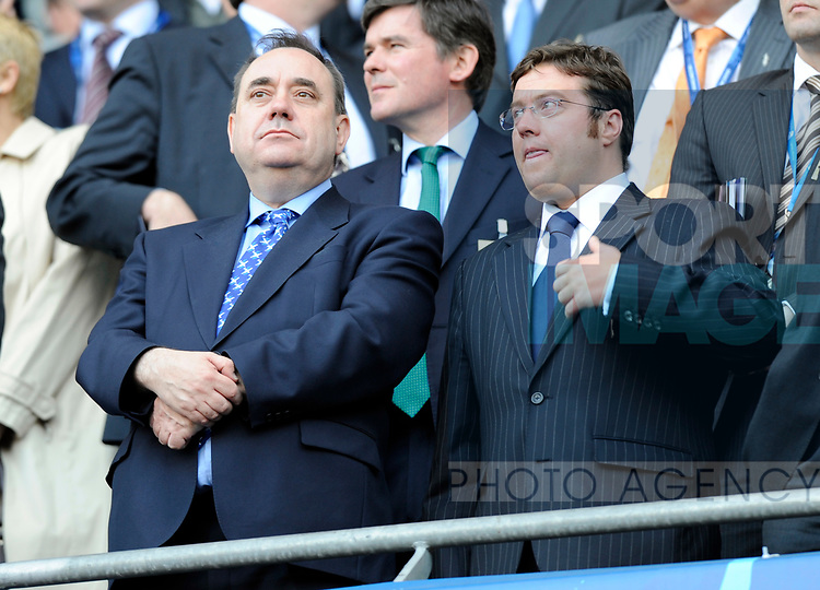 SNP leader Alex Salmond takes his seat before kick off during the Europa League Final match at The Etihad Stadium, Manchester. Picture date 14th May 2008. Picture credit should read: Simon Bellis/Sportimage