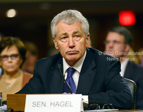 Former United States Senator Chuck Hagel (Republican of Nebraska) appears at a U.S. Senate Committee on Armed Services hearing considering his confirmation as U.S. Secretary of Defense on Capitol Hill in Washington, D.C. on Thursday, January 31, 2013..Credit: Ron Sachs / CNP