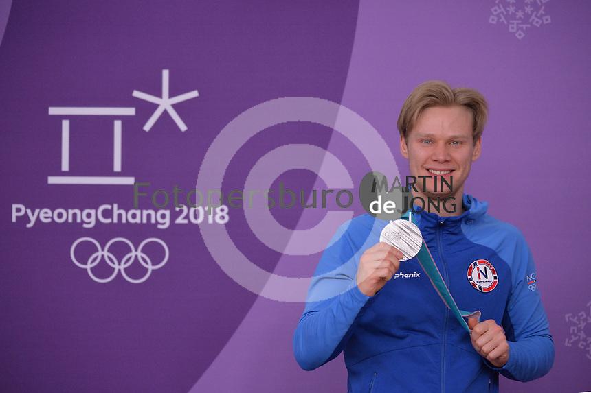 OLYMPIC GAMES: PYEONGCHANG: 23-02-2018, Gangneung Oval, Long Track, 1000m Men, Silver medalist Håvard Lorentzen (NOR), ©photo Martin de Jong