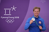 OLYMPIC GAMES: PYEONGCHANG: 23-02-2018, Gangneung Oval, Long Track, 1000m Men, Silver medalist Håvard Lorentzen (NOR), ©photo Martin de Jong