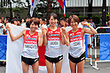 (L to R) Remi Nakazato (JPN), Yukiko Akaba (JPN),  Yoshimi Ozaki (JPN),AUGUST 27, 2011 - Athletics :The 13th IAAF World Championships in Athletics - Daegu 2011, Women's Marathon Final during Start&Gole at the Gukchae-bosang Memorial Park, Daegu, South Korea. (Photo by Jun Tsukida/AFLO SPORT) [0003]