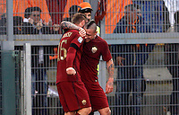 Calcio, Serie A: Lazio vs Roma. Roma, stadio Olimpico, <br /> Roma&rsquo;s Radja Nainggolan, right, celebrates with teammate Daniele De Rossi after scoring during the Italian Serie A football match between Lazio and Rome at Rome's Olympic stadium, 4 December 2016. Roma won 2-0.<br /> UPDATE IMAGES PRESS/Riccardo De Luca