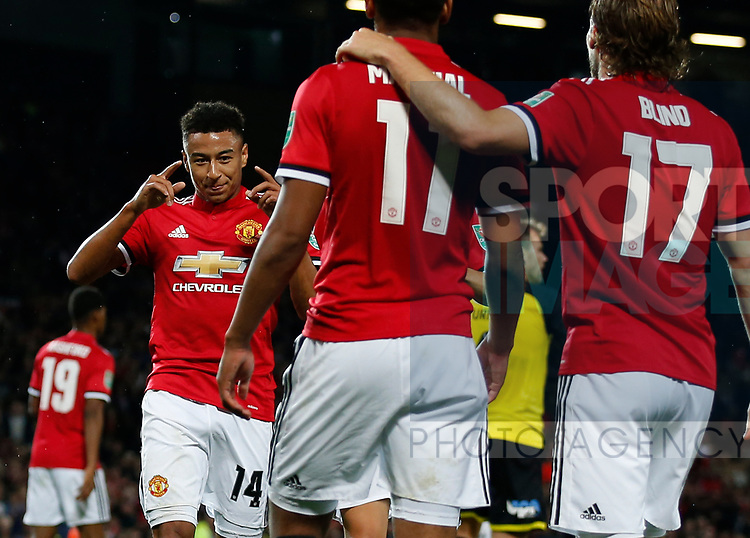 Jesse Lingard of Manchester United celebrates scoring the third goal during the Carabao Cup Third Round match at the Old Trafford Stadium, Manchester. Picture date 20th September 2017. Picture credit should read: Simon Bellis/Sportimage