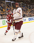 Clay Anderson (Harvard - 5), Alex Tuch (BC - 12) - The Boston College Eagles defeated the Harvard University Crimson 3-2 in the opening round of the Beanpot on Monday, February 1, 2016, at TD Garden in Boston, Massachusetts.