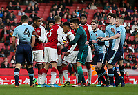 Tempers flare<br /> <br /> Photographer Andrew Kearns/CameraSport<br /> <br /> Emirates FA Youth Cup Semi- Final Second Leg - Arsenal U18 v Blackpool U18 - Monday 16th April 2018 - Emirates Stadium - London<br />  <br /> World Copyright &copy; 2018 CameraSport. All rights reserved. 43 Linden Ave. Countesthorpe. Leicester. England. LE8 5PG - Tel: +44 (0) 116 277 4147 - admin@camerasport.com - www.camerasport.com