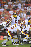 13 August 2010:  Redskins QB Donovan McNabb (5) shouts instructions and calls an audible to his linemen.  McNabb completed 5 of 8 for 58 yards and 1 TD.  The Washington Redskins defeated the Buffalo Bills 42-17 during their preseason game at FedEx Field in Landover, MD.