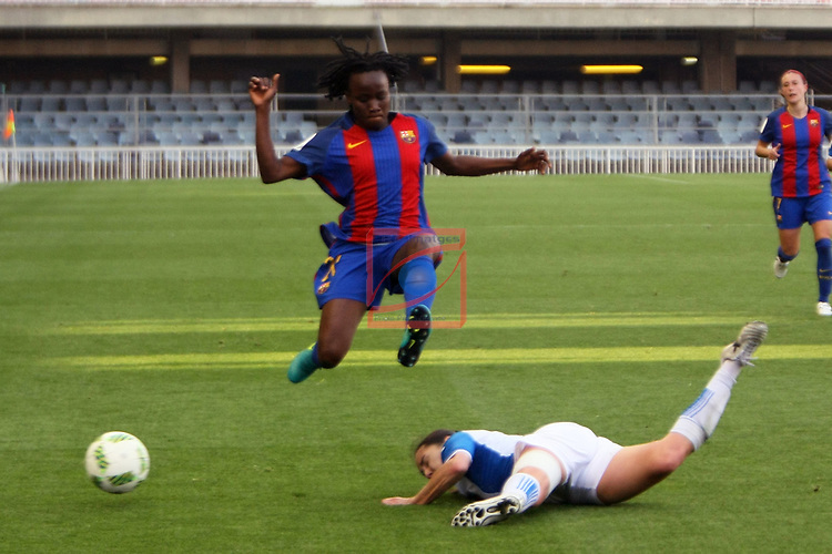 Spanish Women's Football League Iberdrola 2016/17 - Game: 21.<br /> FC Barcelona vs RCD Espanyol: 5-0.<br /> Ange Koko vs Estibi Torralbo.