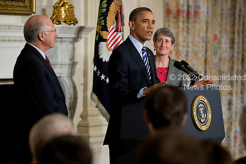 United States President Barack Obama, center, announces Sally Jewell, chief executive officer of Recreational Equipment Inc., right, as his nominee to become secretary of the Secretary of the U.S. Department of the Interior at the White House with Ken Salazar, Secretary of the U.S.  Department of the Interior in Washington, D.C., U.S., on Wednesday, Feb. 6, 2013. Jewell's background as an engineer and experience in the banking, energy and retail industries give her the skills needed to manage a department that oversees 500 million acres of public land, Obama said..Credit: Andrew Harrer / Pool via CNP