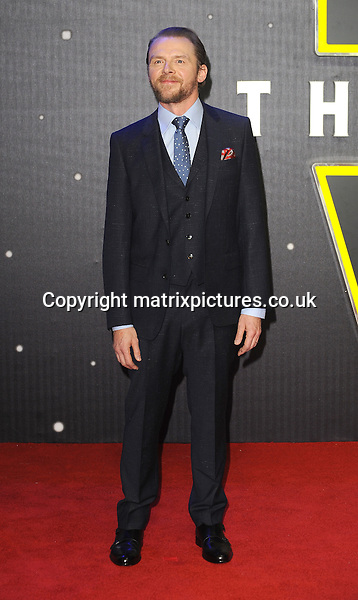 NON EXCLUSIVE PICTURE: PAUL TREADWAY / MATRIXPICTURES.CO.UK<br /> PLEASE CREDIT ALL USES<br /> <br /> WORLD RIGHTS<br /> <br /> English actor Simon Pegg attending the European Premiere of Star Wars: The Force Awakens in Leicester Square, in London.<br /> <br /> DECEMBER 16th 2015<br /> <br /> REF: PTY 153700