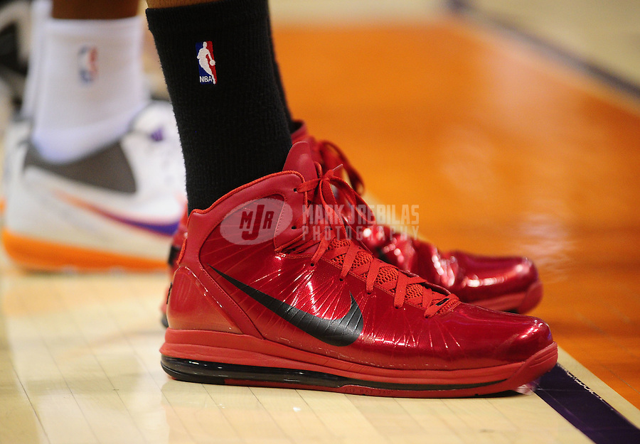 Jan. 14, 2011; Phoenix, AZ, USA; Detailed view of the Nike shoes worn by Portland Trailblazers forward LaMarcus Aldridge against the Phoenix Suns at the US Airways Center. The Suns defeated the Trailblazers 115-111. Mandatory Credit: Mark J. Rebilas-