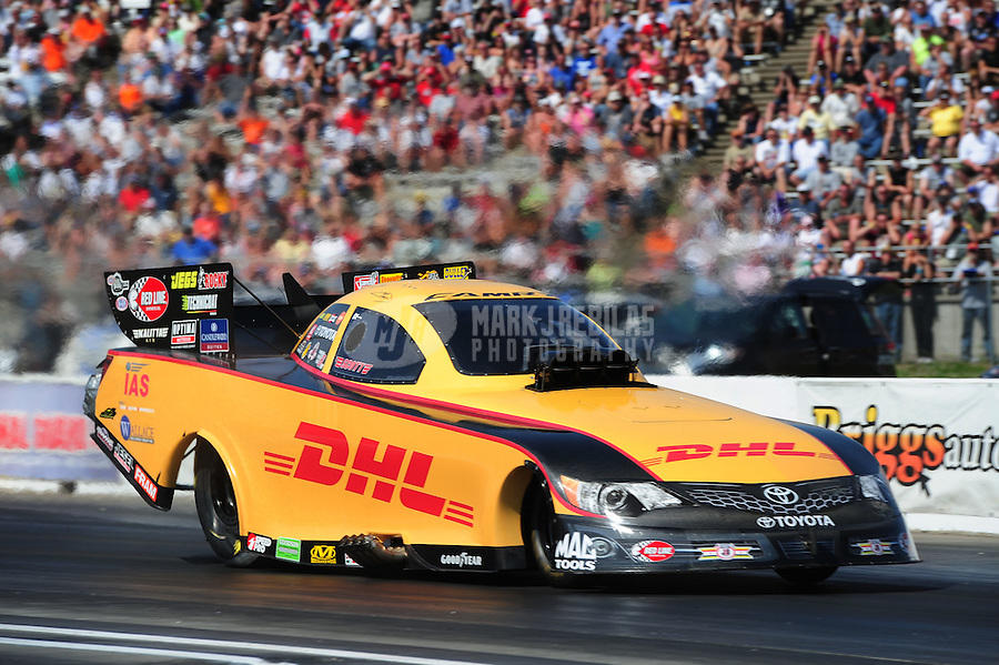 May 19, 2012; Topeka, KS, USA: NHRA funny car driver Jeff Arend during qualifying for the Summer Nationals at Heartland Park Topeka. Mandatory Credit: Mark J. Rebilas-