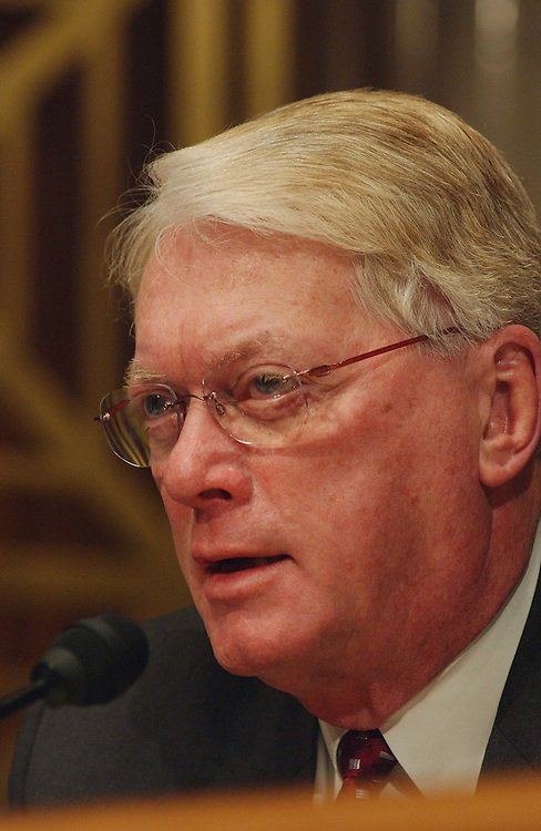2/13/03.OIL SUPPLY AND PRICES--Sen. Jim Bunning, R-Ky., during the Senate Energy hearing on oil supply and prices..CONGRESSIONAL QUARTERLY PHOTO BY SCOTT J. FERRELL