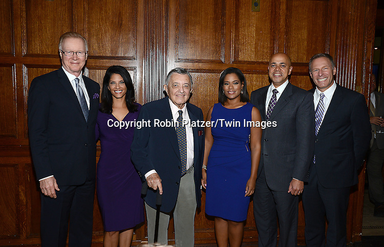 honorees Chuck Scarborough, Darlene Rodriguiz, Gabe Pressman, Sibila Vargas, David Ushery and Michael Gargiulo attend the Library of American Broadcasting Annual Giants of Broadcasting Luncheon on October 16, 2014 at Gotham Hall in New York City. <br /> <br /> photo by Robin Platzer/Twin Images<br />  <br /> phone number 212-935-0770