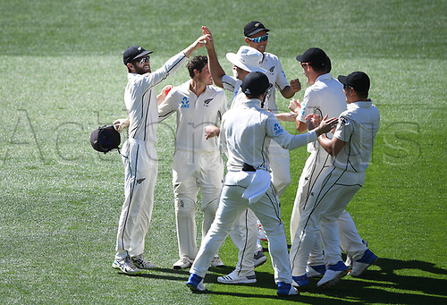 26th March 2018, Eden Park, Auckland, New Zealand; International Test Cricket, New Zealand versus England, day 5;  Kane Williamson celebrates with team mates after taking a catch to dismiss Bairstow