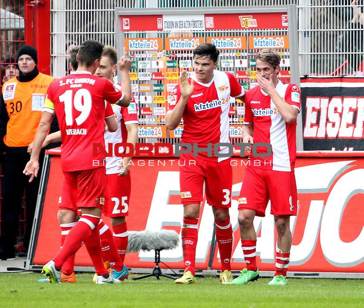 03.07.2013, Stadion an der Wuhlheide, Berlin, GER, 2.FBL, 1.FC Union Berlin vs. Heidenheim, im Bild 2: 1 durch Soeren Brandy (1.FC Union Berlin), Fabian Schoenheim (1.FC Union Berlin), Bjoern Jopek (1.FC Union Berlin), Jubel, jubelt, Freude, Glueck, gluecklich, positive Emotionen,<br /> <br />               <br /> Foto &copy; nordphoto /  Engler