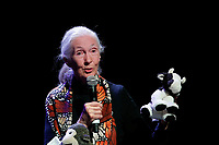 Jane Goodall holds a plush cow<br /> Roma 11/05/2017. Lectio Magistralis dell'etologa Jane Goodall, ospite al National Geographic Festival delle Scienze<br /> Rome 11th May 2017. Lectio Magistralis of the ethologist Jane Goodall, guest at the National Geographic Science Festival 2017.<br /> Foto Samantha Zucchi Insidefoto