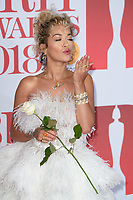 Rita Ora<br /> arriving for the BRIT Awards 2018 at the O2 Arena, Greenwich, Leicester Square, London<br /> <br /> ©Ash Knotek  D3383  21/02/2018<br /> <br /> *photos for editorial use only in connection with the BRITs*