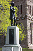 Toronto (ON) CANADA,  April , 2008-<br /> Statue of Mowat (Premier of Ontario 1872-1896) in Queens Park.<br /> <br /> urban park in the Downtown area of Toronto. Opened in 1860 by Edward, Prince of Wales, it was named in honour of Queen Victoria. The park is the site of the Ontario Legislature, which houses the Legislative Assembly of Ontario, and so the phrase Queen's Park is also frequently used to refer to the Government of Ontario.