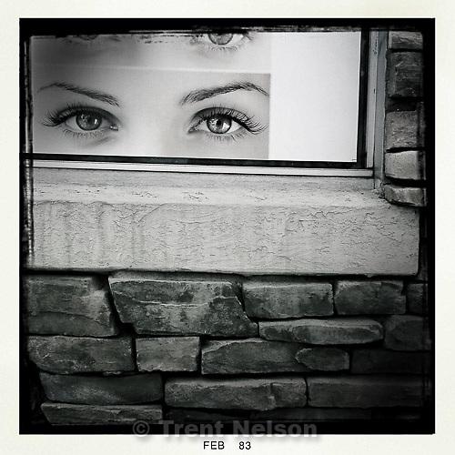 eyes in salon window