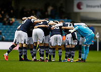 9th February 2020; The Den, London, England; English Championship Football, Millwall versus West Bromwich Albion; Millwall starting eleven huddle up before kick off