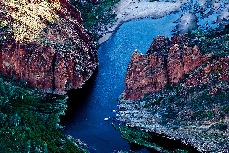 Aerial View of Glen Helen Gorge, West MacDonnell ranges, Central Australia