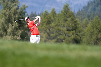 Rory Mcilroy (NIR) in action on the 12th hole during final round at the Omega European Masters, Golf Club Crans-sur-Sierre, Crans-Montana, Valais, Switzerland. 01/09/19.<br /> Picture Stefano DiMaria / Golffile.ie<br /> <br /> All photo usage must carry mandatory copyright credit (© Golffile | Stefano DiMaria)