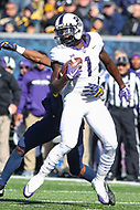 Morgantown, WV - November 10, 2018: TCU Horned Frogs wide receiver Jalen Reagor (1) catches a pass during the game between TCU and WVU at  Mountaineer Field at Milan Puskar Stadium in Morgantown, WV.  (Photo by Elliott Brown/Media Images International)