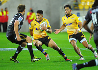 Ardie Savea in action during the Super Rugby match between the Hurricanes and Sharks at Westpac Stadium, Wellington, New Zealand on Saturday, 9 May 2015. Photo: Dave Lintott / lintottphoto.co.nz