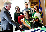 PROSPECT CT. 15 March 2018-031519SV01-Mayor Bob Chatfield shakes the hand of Katelyn Donovan, 18, who was named mayor of the day in Prospect Friday. Donovan turned 18 Friday.  Her parents Elizabeth and Shawn and sister Chelsea Donovan stand behind her in the Mayor&rsquo;s office. <br /> Steven Valenti Republican-American