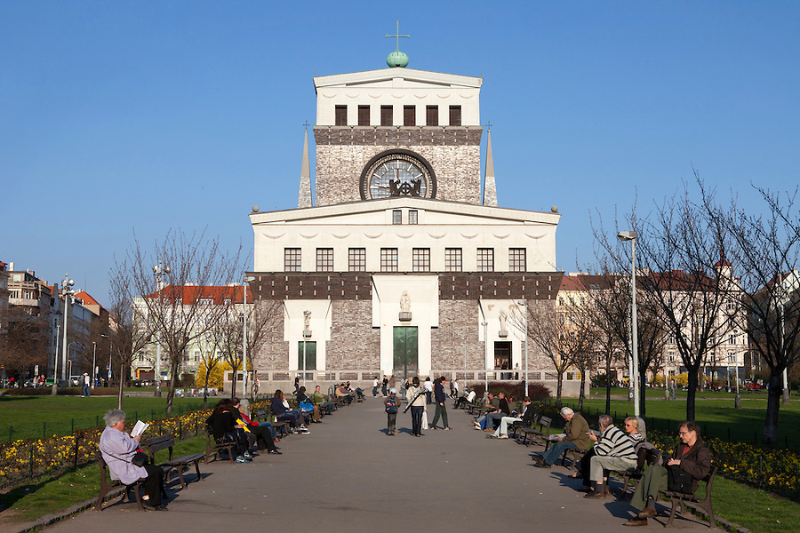 The Church of the Most Sacred Heart of Our Lord (Czech: Kostel Nejsvětějšího Srdce Páně) is a Roman Catholic church at Jiřího z Poděbrad square designed by Slovenian architect Josip Plečnik and built in the years 1928 - 1932, in Prague's Vinohrady neighborhood, Czech Republic, Europe
