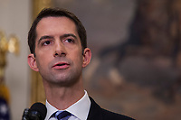 United States Senator Tom Cotton (Republican from Arkansas) makes an announcement on the introduction of the Reforming American Immigration for a Strong Economy (RAISE) Act in the Roosevelt Room at the White House in Washington, D.C., U.S., on Wednesday, August 2, 2017. The act aims to overhaul U.S. immigration by moving towards a &quot;merit-based&quot; system. <br /> Credit: Zach Gibson / Pool via CNP /MediaPunch