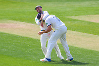 Picture by Alex Whitehead/SWpix.com - 21/04/2018 - Cricket - Specsavers County Championship Div One - Yorkshire v Nottinghamshire, Day 2 - Emerald Headingley Stadium, Leeds, England - Yorkshire's Adam Lyth celebrates with Jack Brooks after catching Notts' Luke Wood.