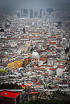 An aerial view of Naples in Italy taken from Castel Sant'Elmo.