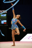 Evgenia Kanaeva of Russia turns fouette with ribbon at 2006 Mie World Cup Finale of rhythmic gymnastics on November18, 2006.<br />