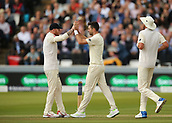 7th September 2017, Lords Cricket Ground, London, England; International Test Match Series, Third Test, Day 1; England versus West Indies; England Bowler James Anderson celebrates taking the wicket of West Indies batsman Kraigg Brathwaite with Ben Stokes