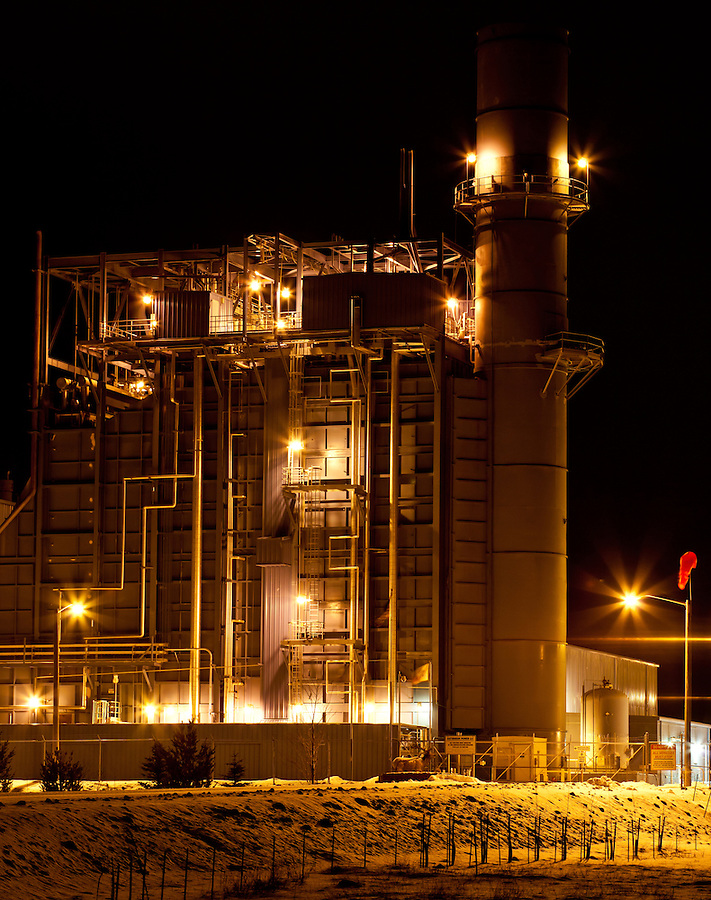 An industrial night scene at a processing plant in Eastern Washington State.