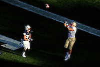 Sept. 19, 2009; Provo, UT, USA; Florida State Seminoles tight end (81) Caz Piurowski catches a touchdown pass under pressure from BYU Cougars linebacker (35) Matt Bauman in the second quarter at LaVell Edwards Stadium. Mandatory Credit: Mark J. Rebilas-