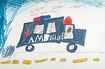 child's rudimentary drawing of ambulance on street with words: weeo! weeo! weeo! aaa! aaa! aaa! (siren)