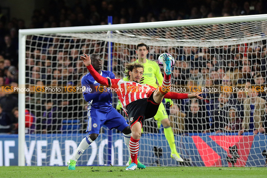 Southampton's Manolo Gabbiadini tries a spectacular shot at the Chelsea goal during Chelsea vs Southampton, Premier League Football at Stamford Bridge on 25th April 2017