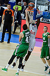 Real Madrid's Othello Hunter and Darussafaka Dogus's Ante Zizic during Turkish Airlines Euroleague match between Real Madrid and Darussafaka Dogus at Wizink Center in Madrid, Spain. February 24, 2017. (ALTERPHOTOS/BorjaB.Hojas)